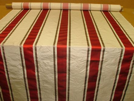Tatiana Stripe Cherry 100% Silk fabric